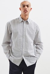 Urban Outfitters Uo Palu Textured Stripe Button Down Shirt Blue