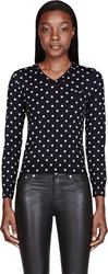 Comme Des Garcons Navy Polka Dot V Neck Sweater