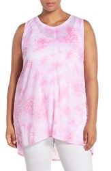 Plus Size Women's Two By Vince Camuto 'Rippling Tide' Print Burnout High Low Tank