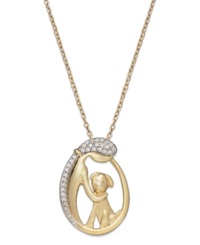 Macy's Aspca Tender Voices Diamond Woman And Dog Pendant Necklace In 10K Gold Plated Sterling Silver 1 10 Ct. T.W.