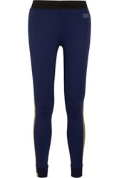 Monreal London Athlete Striped Stretch Knit Leggings Midnight Blue