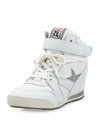 Ash Jazz Bis Star Detailed Combo Wedge Sneaker White Silver