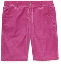 Massimo Alba Slim Fit Watercolour Dyed Cotton Corduroy Shorts Pink