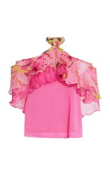Roopa Tiered Ruffle Halter Blouse Pink