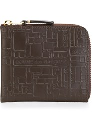 Comme Des Garcons Wallet Geometric Embossed Pattern Wallet Brown