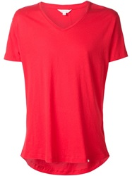 Orlebar Brown V Neck T Shirt Red