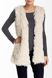 Hip Oversized Faux Fur Vest White