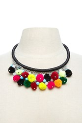 Forever 21 Pom Pom Statement Necklace Black Multi