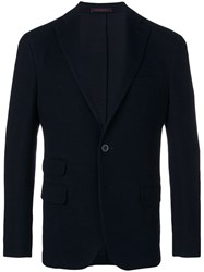 The Gigi Fitted Buttoned Blazer Blue