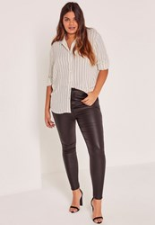 Missguided Plus Size White Striped Shirt