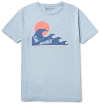 Hartford Printed Slub Cotton Jersey T Shirt Light Blue