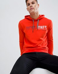 Jack And Jones Logo Hooded Sweat Red