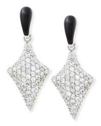 M.C.L. By Matthew Campbell Laurenza Art Deco Black Enamel And White Zircon Pave Arrow Earrings