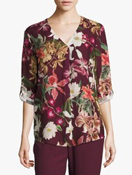 Betty And Co. Floral Print Blouse Purple Cream