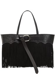 Dsquared Fringed Leather Tote Bag Black