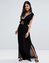 Liquorish Beach Dress With Tie Front Black