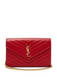 Saint Laurent Monogram Quilted Leather Cross Body Bag Red