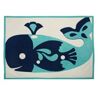 Thomas Paul Amalfi Whale Tea Towels Blue Cream White