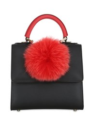 Les Petits Joueurs Mini Alex Pompom Leather Top Handle Bag