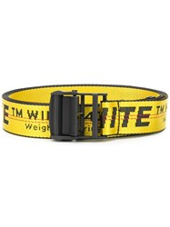 Off White Contrast Logo Print Belt Yellow