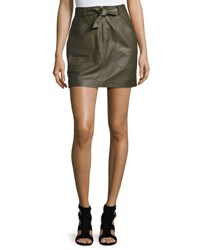 Rebecca Taylor Tie Front Lamb Leather Mini Skirt Olive
