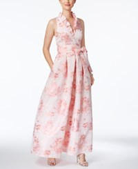 Jessica Howard Floral Print A Line Gown Pink