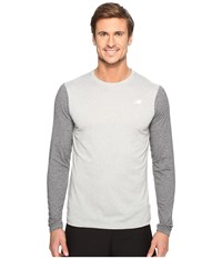 New Balance Long Sleeve Heather Tech Tee Athletic Grey Black Heather Men's Long Sleeve Pullover Gray