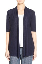 Women's Eileen Fisher Organic Linen And Cotton Elbow Sleeve Straight Cardigan Midnight
