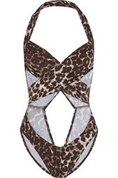 Norma Kamali Mio Cutout Cheetah Print Swimsuit Dark Brown