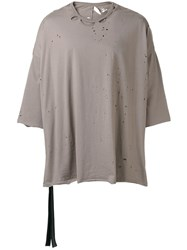 Unravel Project Distressed T Shirt Brown
