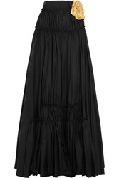 Lanvin Embellished Cotton Blend Maxi Skirt Black