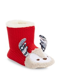 Kensie Faux Fur Lined Critter Bootie Slipper Crimson