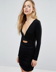 Daisy Street V Neck Bodycon Dress With Ruched Detail Black