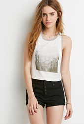 Forever 21 Cuffed Button Front Denim Shorts Black