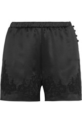 Dolce And Gabbana Lace Trimmed Silk Blend Satin Briefs Black