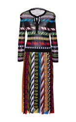 Mary Katrantzou Faye Long Sleeve Printed Dress Black Red Yellow