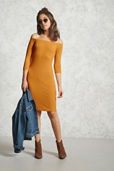 Forever 21 Off The Shoulder Bodycon Dress Mustard