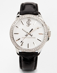 Juicy Couture 'Jet Setter' Round Leather Strap Watch Blacksilver