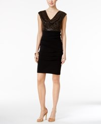 Connected Sequined Metallic Cowl Neck Sheath Dress Gold
