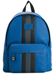 Coach Striped Zipped Backpack Blue