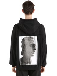 Damir Doma Hooded Zip Up Cotton Jersey Sweatshirt Black