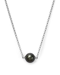 Bloomingdale's Cultured Tahitian Black Pearl Pendant Necklace On 14K White Gold 18 Black White
