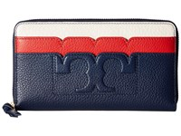 Tory Burch Scallop T Zip Continental Wallet Royal Navy Cherry Apple New Ivory Wallet Handbags Blue