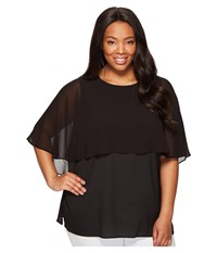 Calvin Klein Plus Size Short Sleeve Ruffle Top Black Women's Clothing