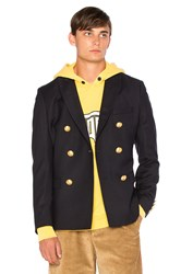 Palm Angels Leaves Double Breasted Blazer Navy