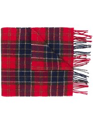 Barbour Plaid Scarf Red