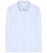 Miu Miu Crystal Embellished Cotton Shirt Blue