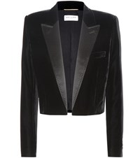 Saint Laurent Cropped Velvet Tuxedo Jacket Black