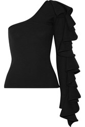 Beaufille Electra One Shoulder Ruffled Ribbed Knit Top Black