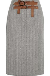 Tom Ford Herringbone Wool And Cashmere Blend Tweed Skirt Gray